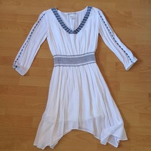Embroidered white and blue dress